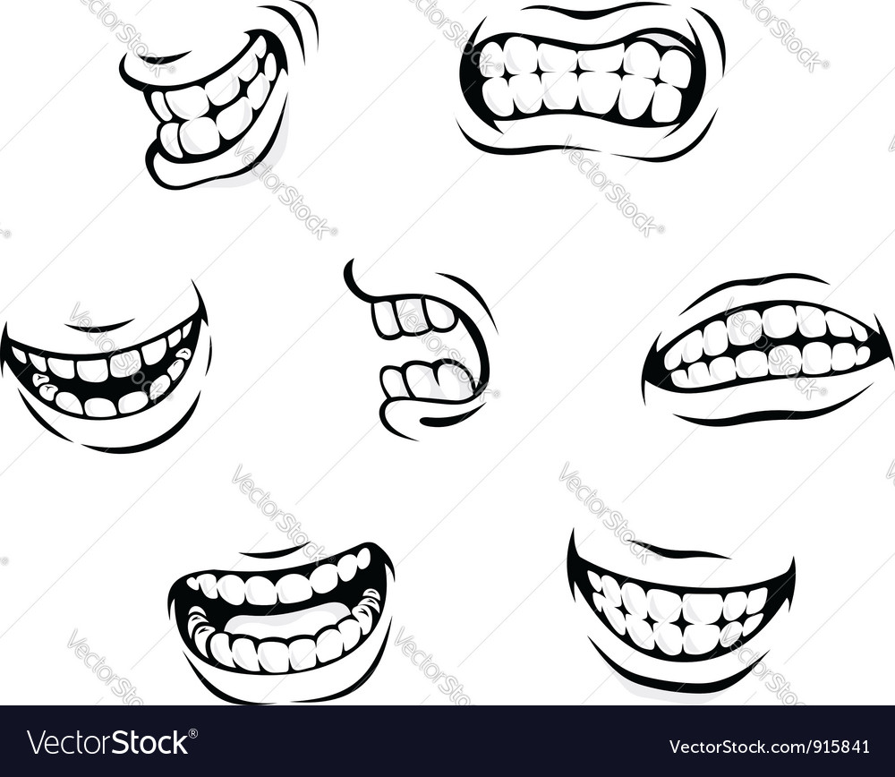 Smiling and angry cartoon teeth