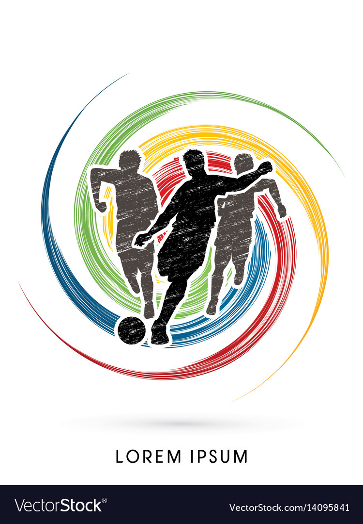 Soccer players running vector image