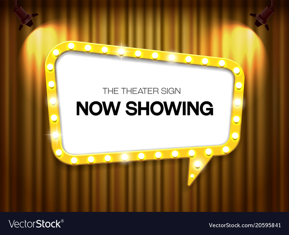 Theater sign on curtain background with spotlight vector image