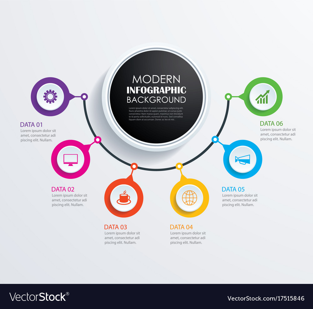 Abstract 6 circle infographics number options
