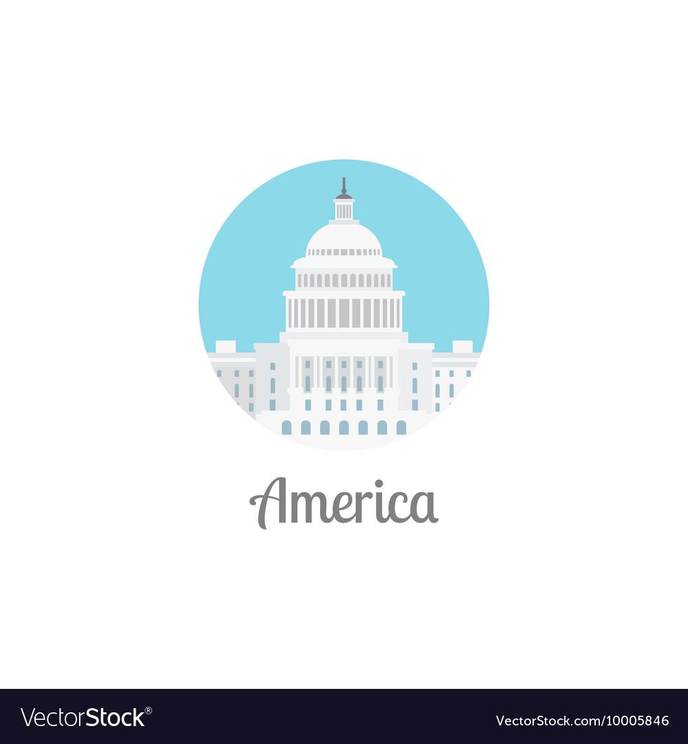 America landmark isolated round icon