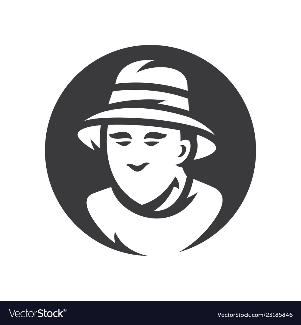 a92aa900084fac Bucket hat men silhouette sign Royalty Free Vector Image