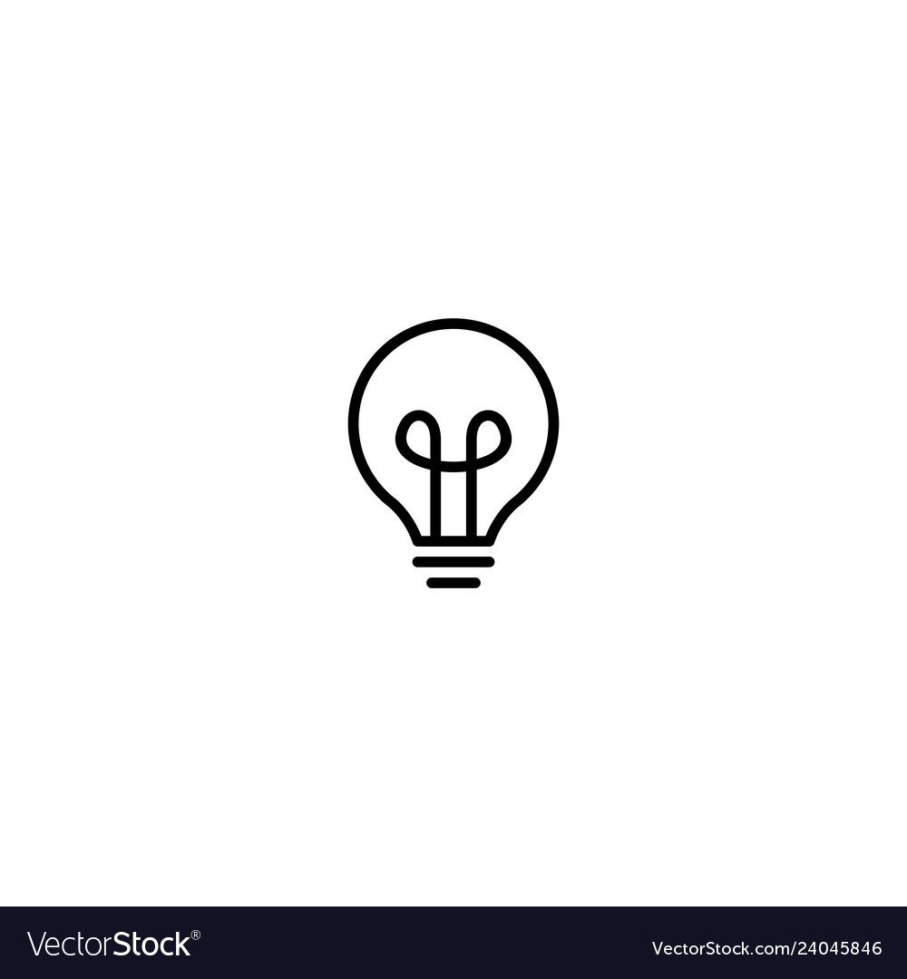 Bulb lamp icon logo line outline monoline