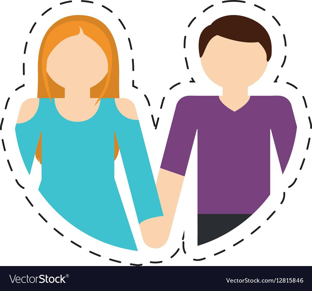 Couple romantic love relationship cut line