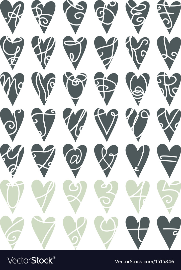 Heart letters and numbers