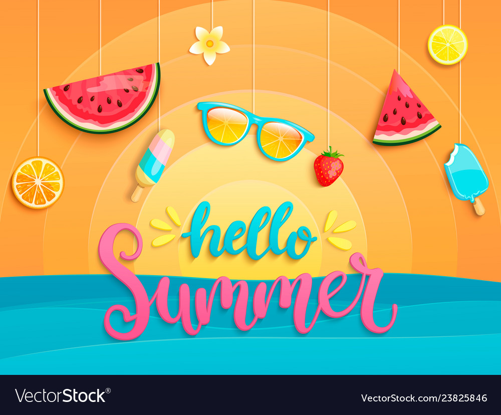 Hello summer flyer with summer symbols
