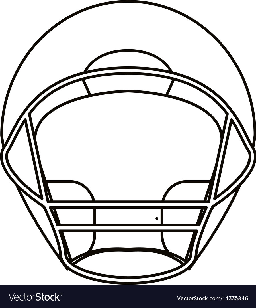 Helmet American Football Front View Outline