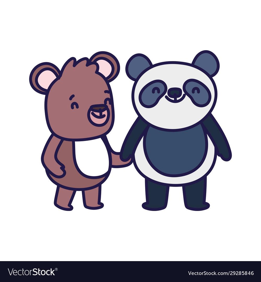 Little panda and teddy bear cartoon character on