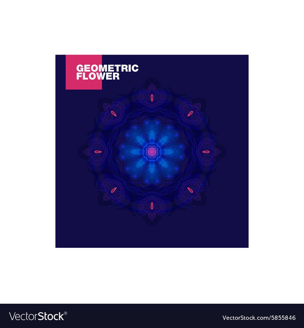 Luxurious geometric blue lotus flower on a dark