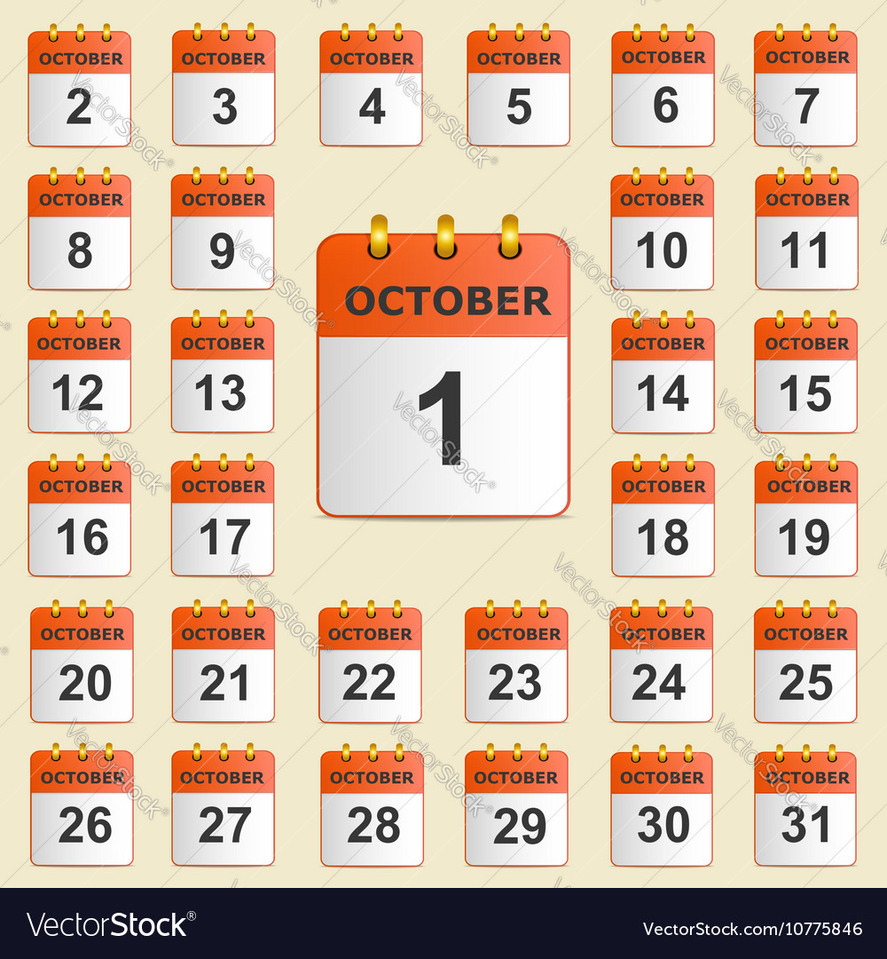 Set of icons for the calendar in October