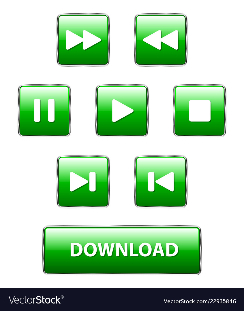Set of square green buttons