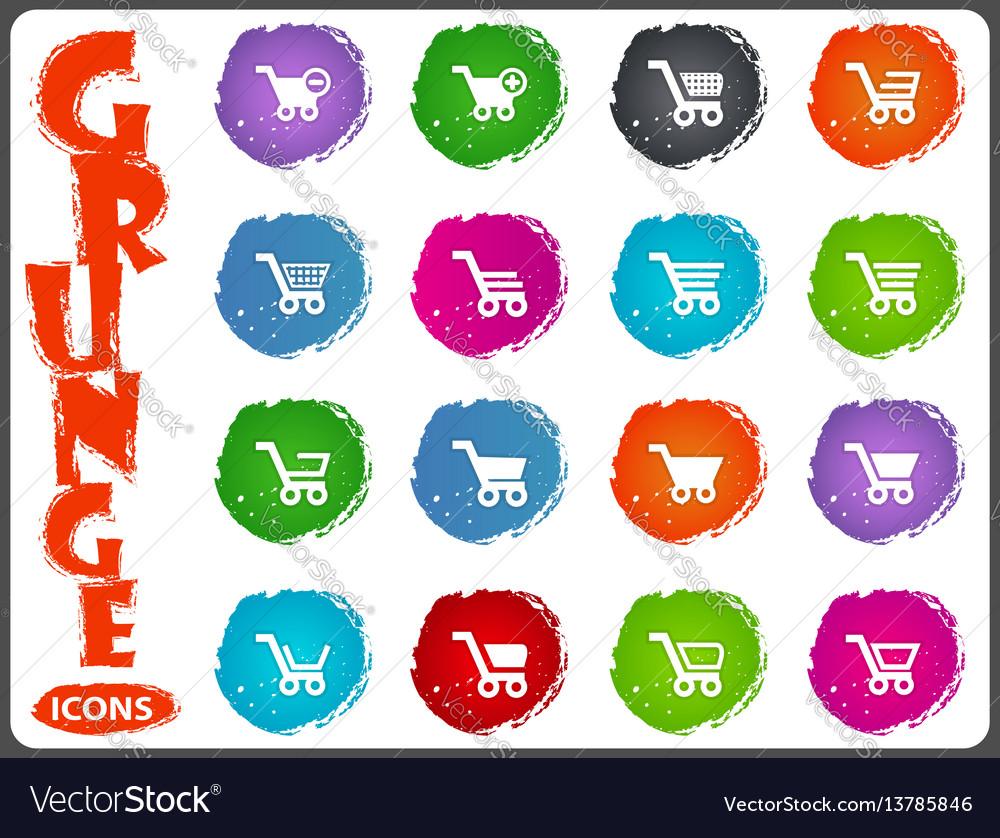 Shopping bascket icons set in grunge style