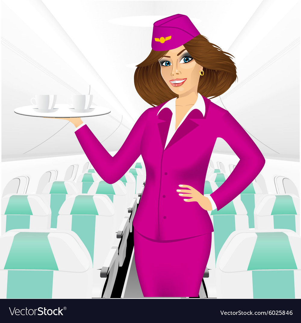 Stewardess holding a tray with two cup of tea