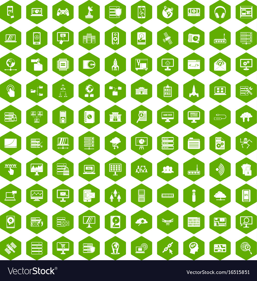 100 database and cloud icons hexagon green vector image