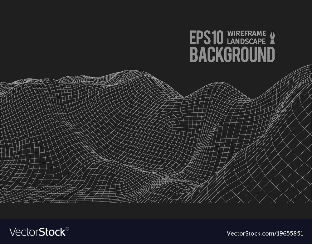 3d wireframe terrain wide angle eps10
