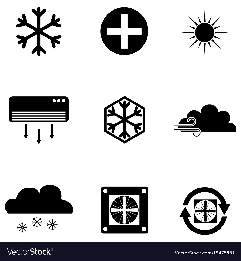 Air condition icon set vector image