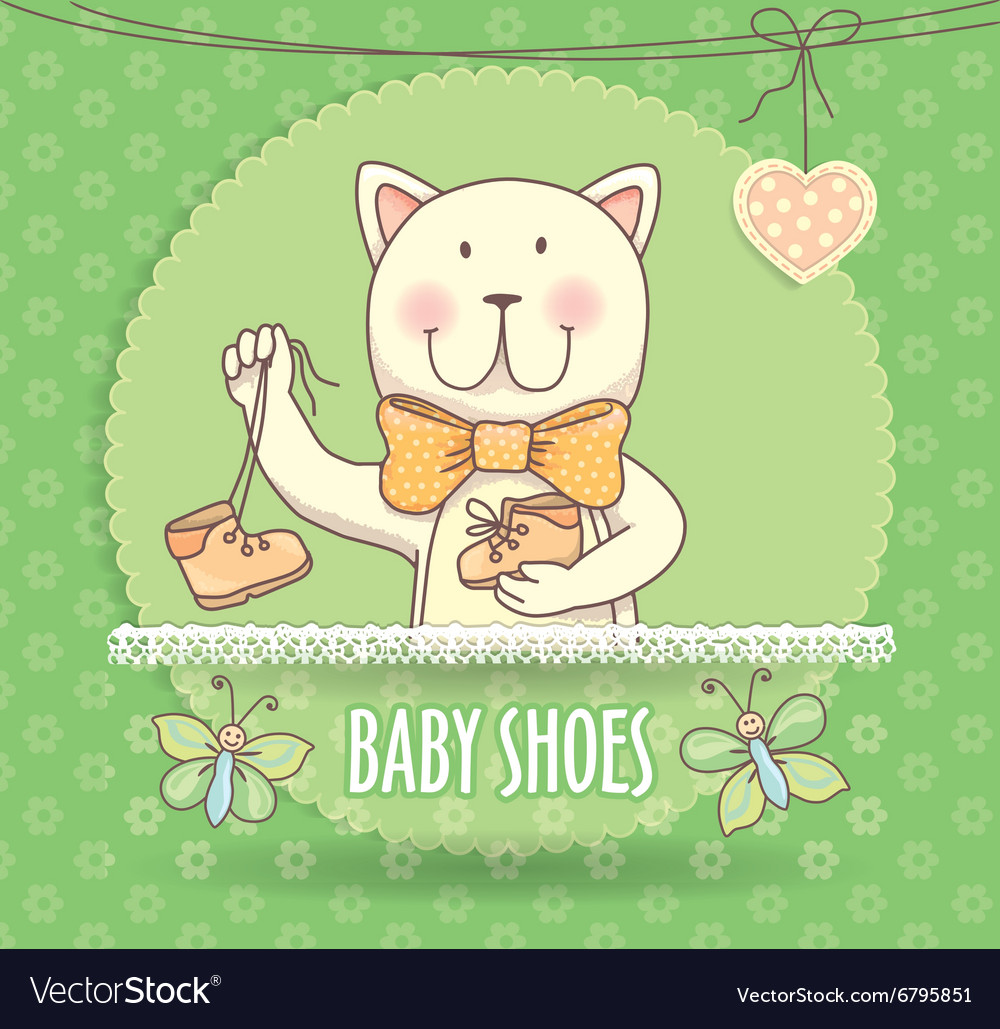Baby shoes banner with cat