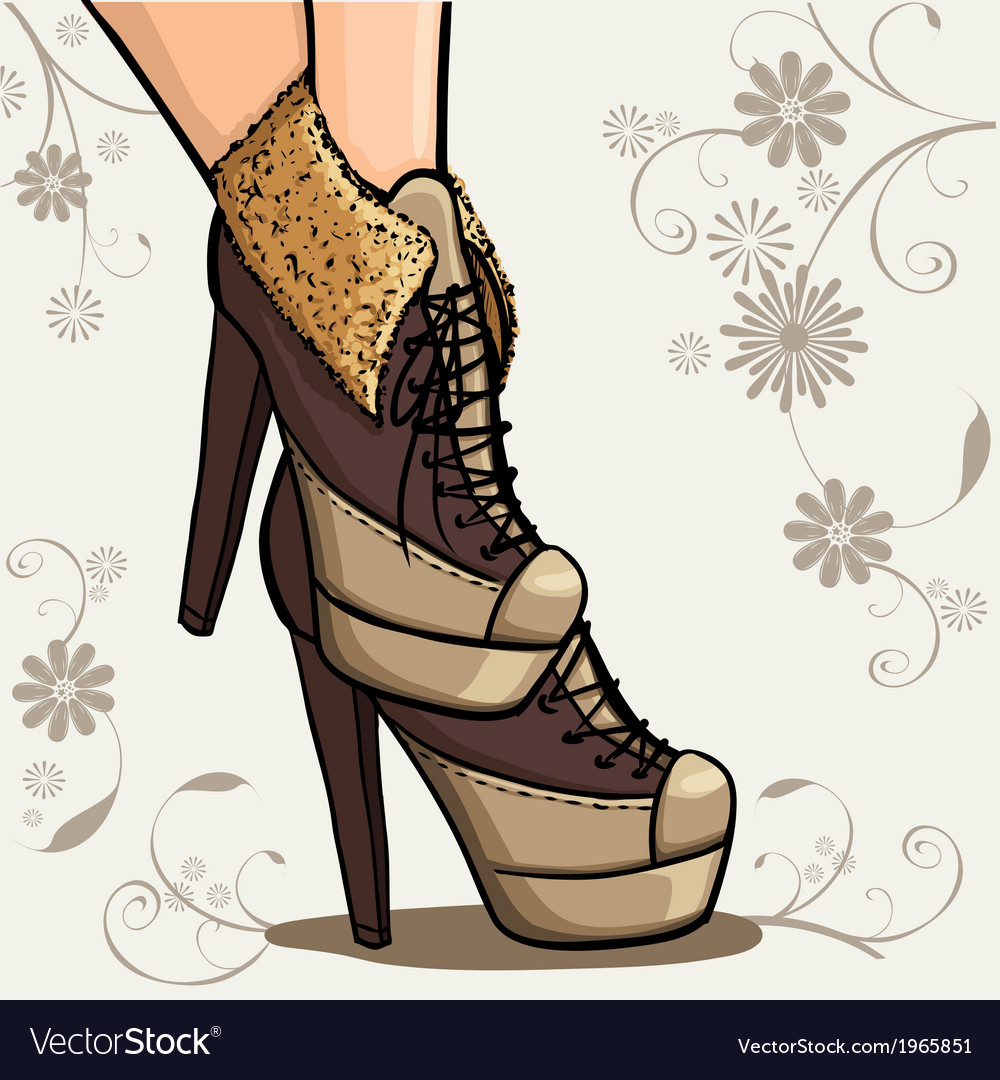Beautiful legs of woman in ankle boot vector image