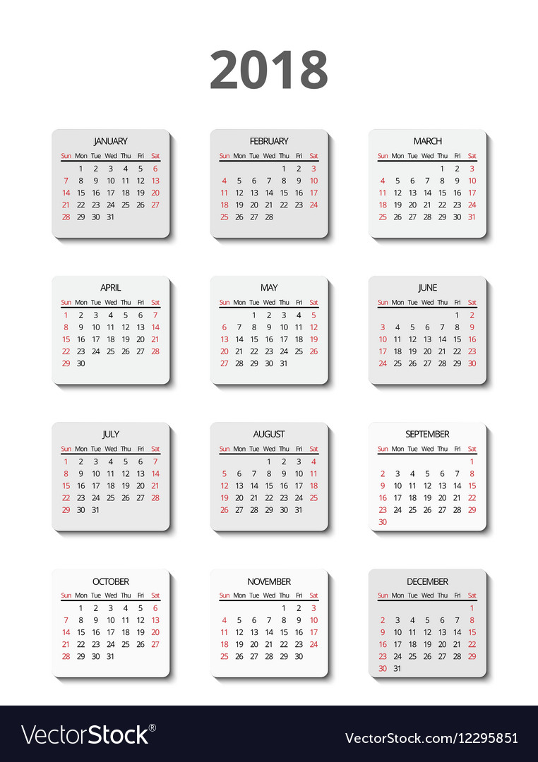 Calendar for 2018 year page posters