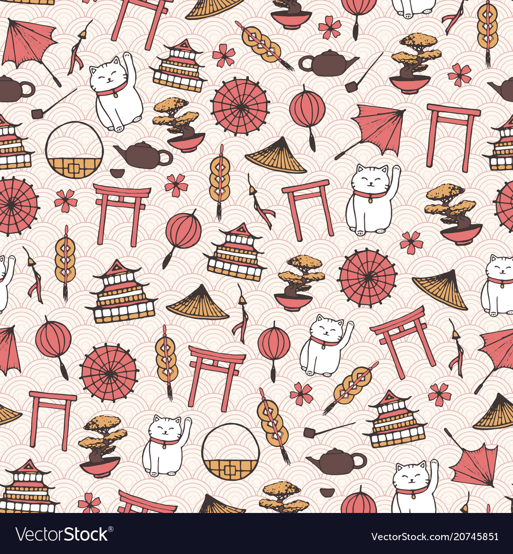 Hand drawn asian seamless pattern with umbrellas