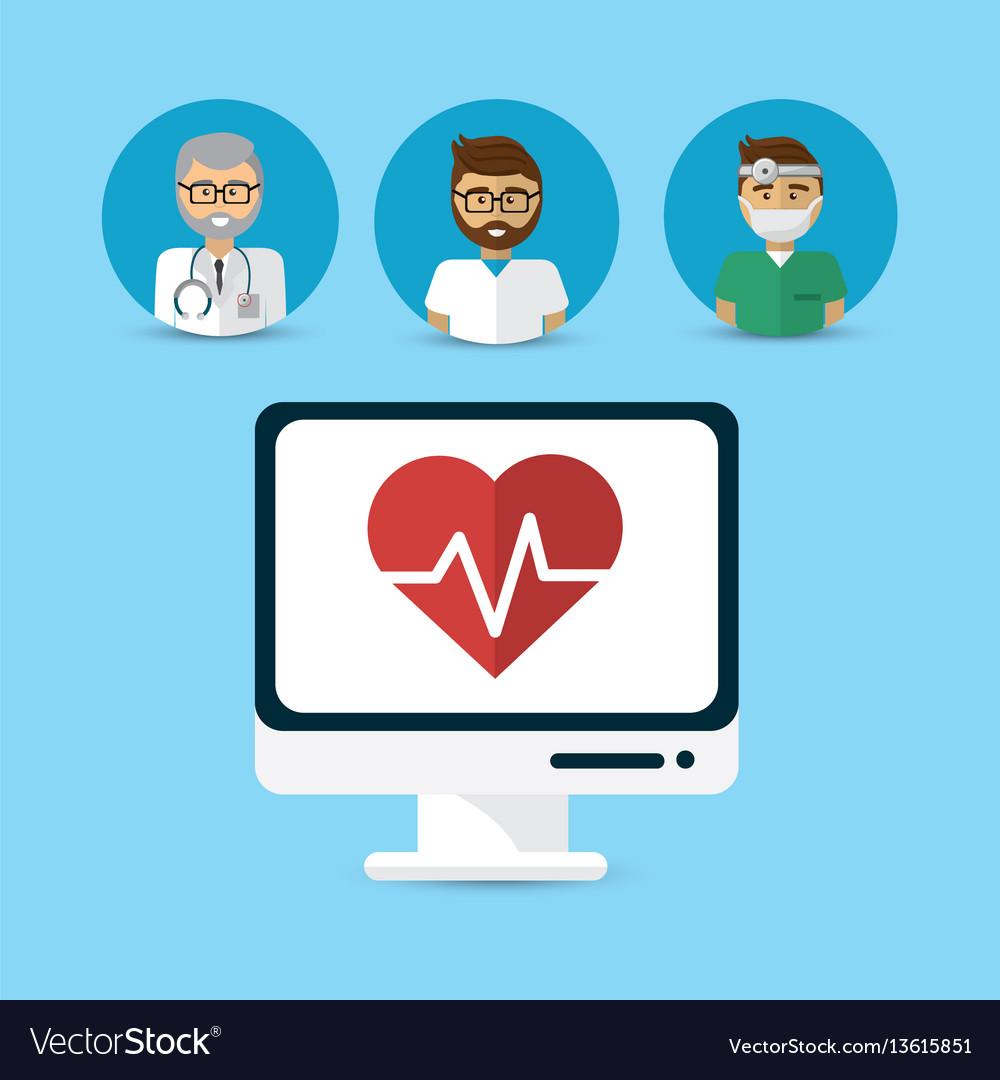 Hospital doctors computer icon image vector image