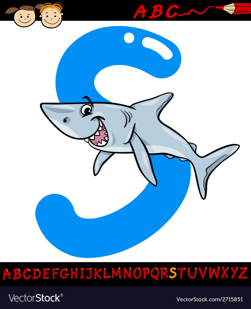Letter s for shark cartoon vector image