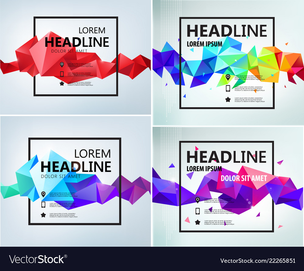 Set faceted geometric abstract banners