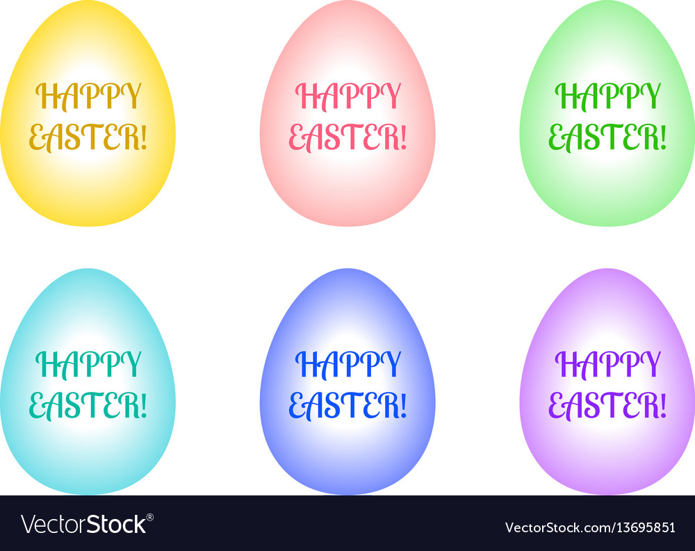 Set of easter eggs of different colors