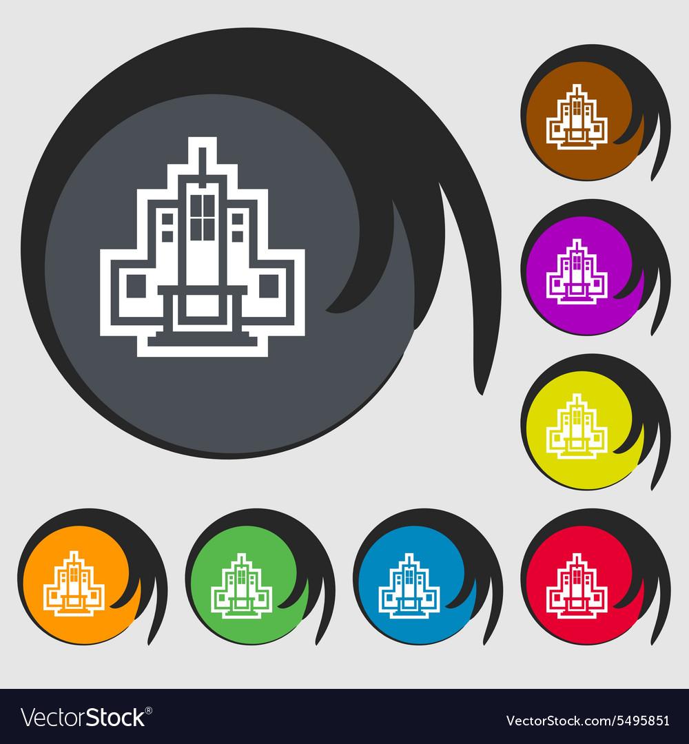 Skyscraper icon sign Symbol on eight colored