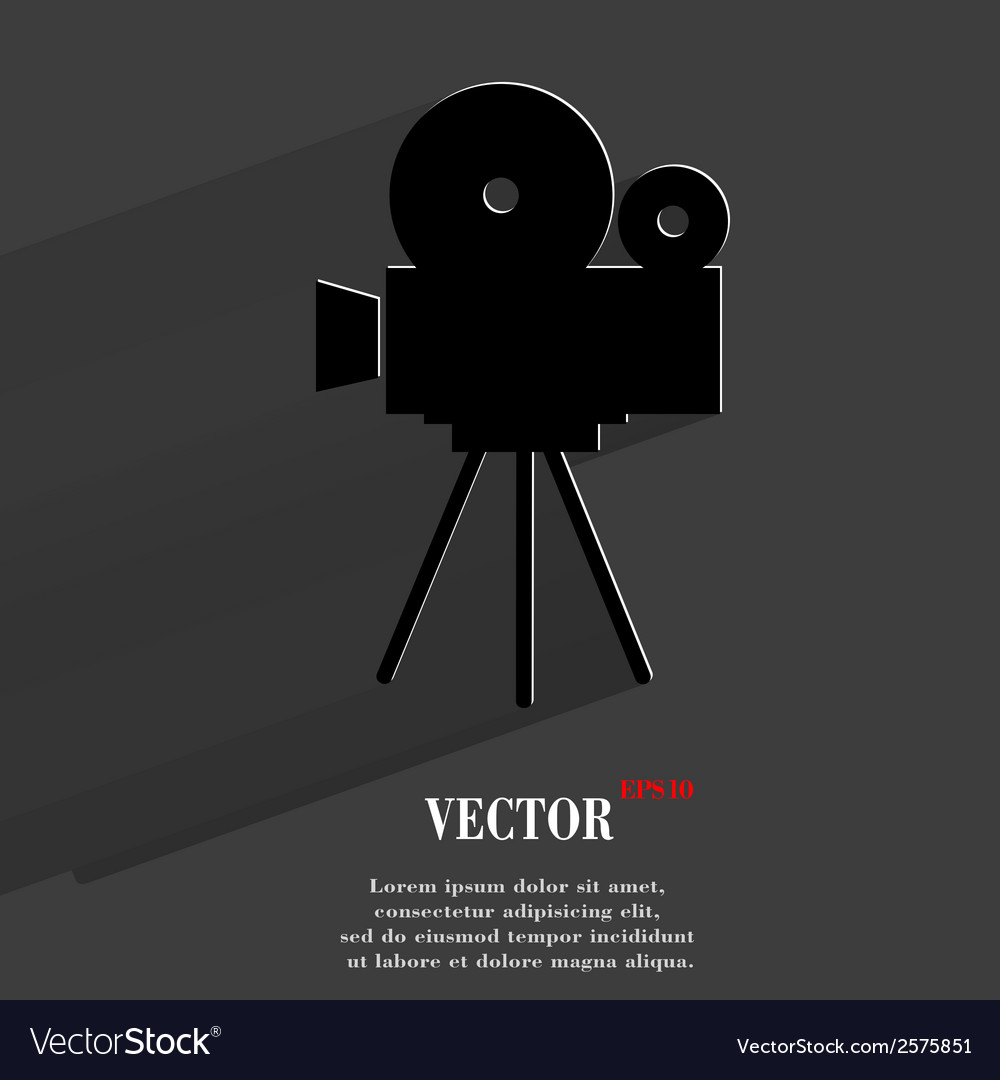 Videocamera Flat modern web button with long vector image