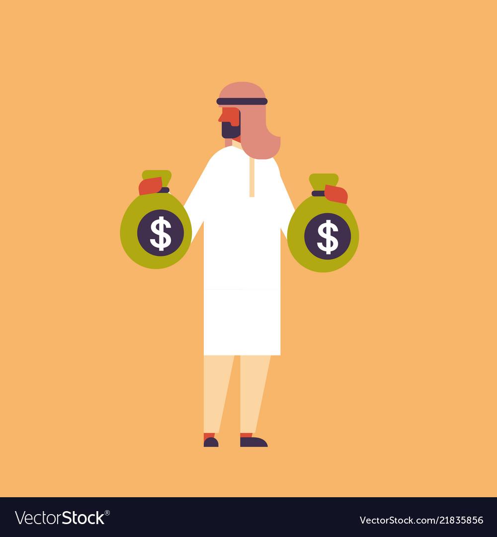 Arabic businessman holding money bags growth