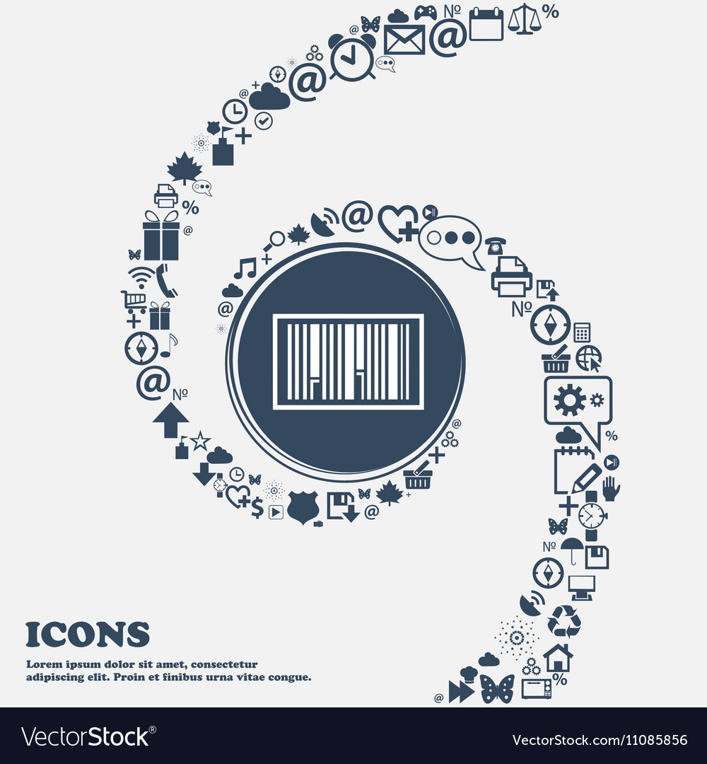 Barcode Icon in the center Around the many