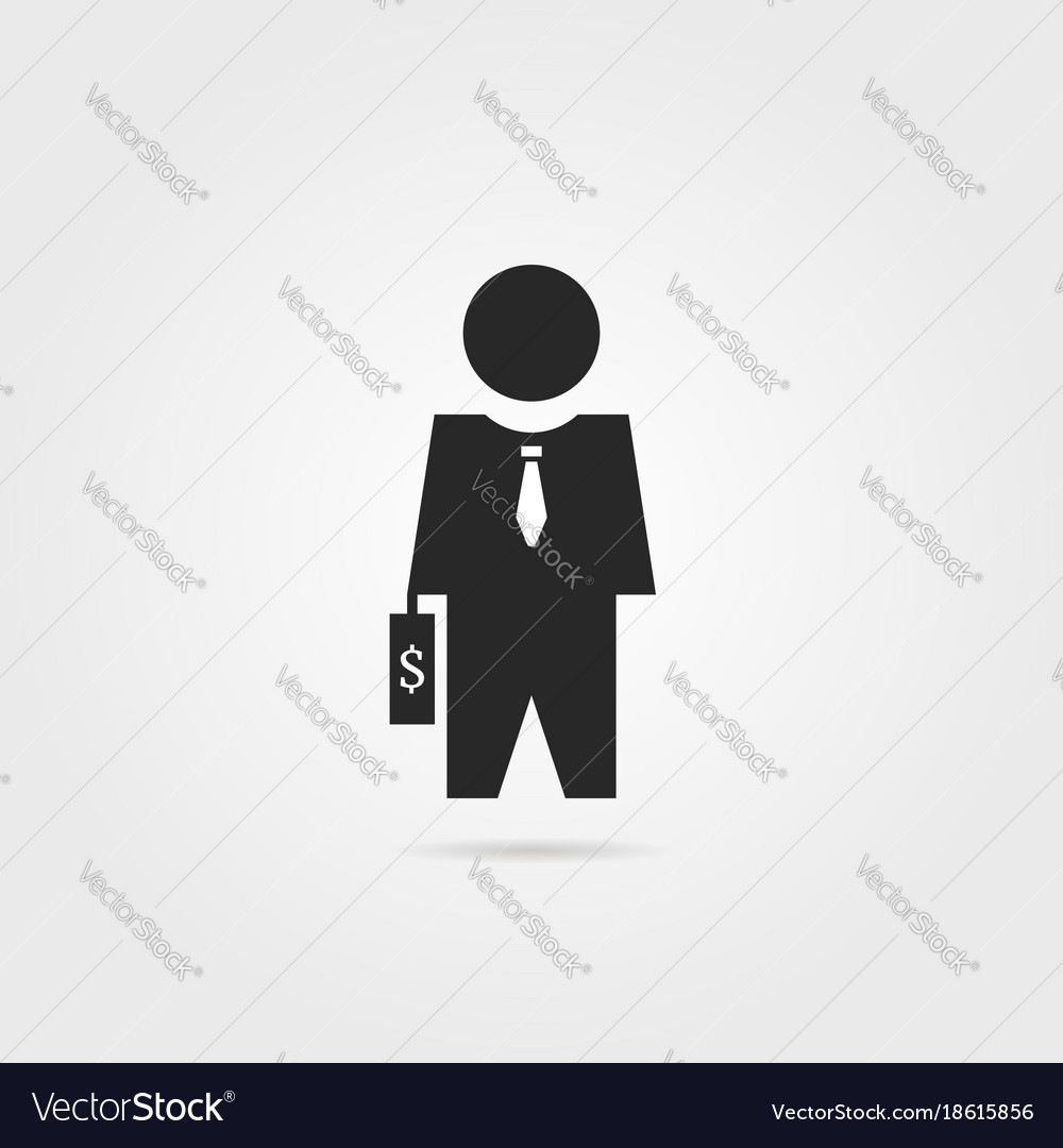 Black investor icon with suitcase
