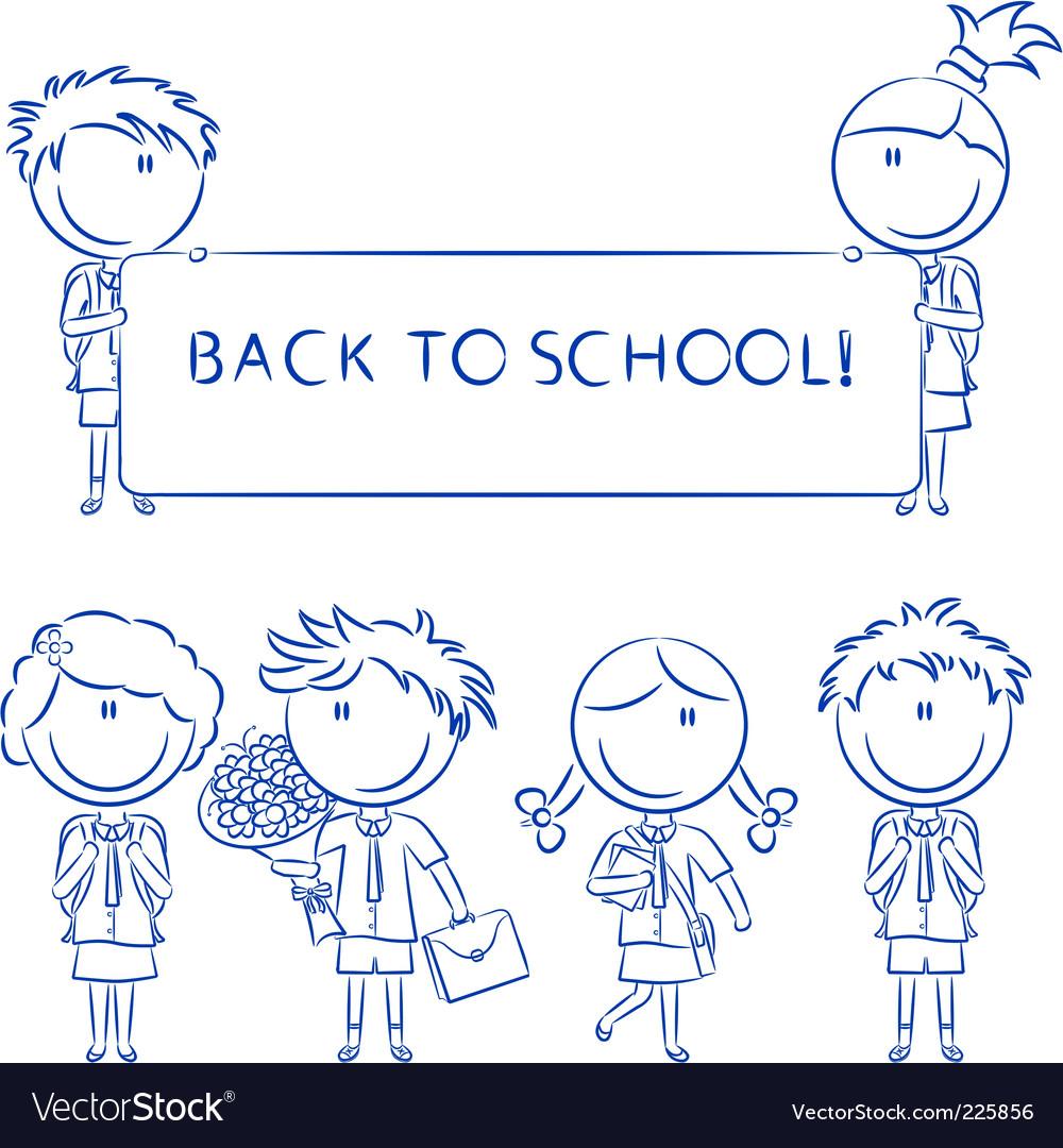 Cheerful cute school kids wit