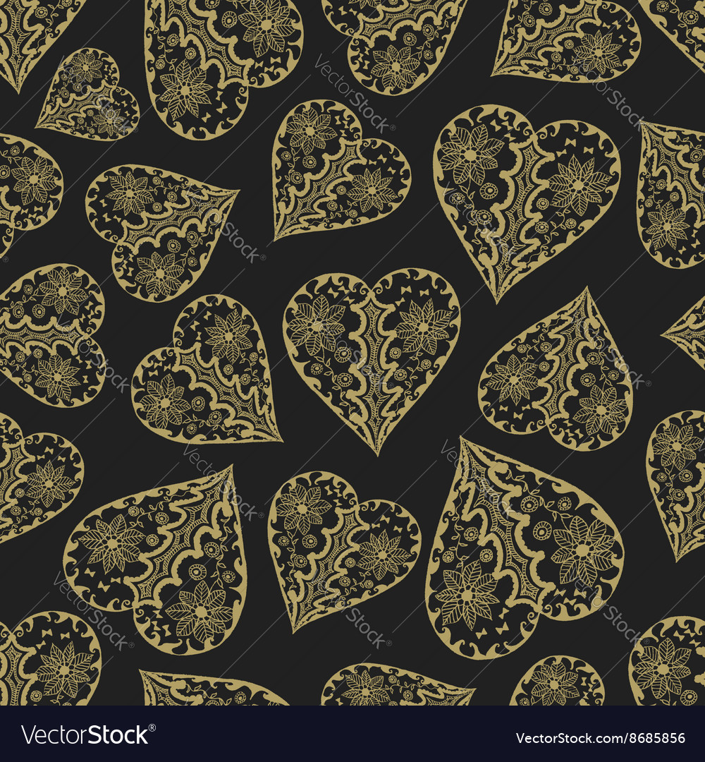 Dark and gold seamless pattern with hearts