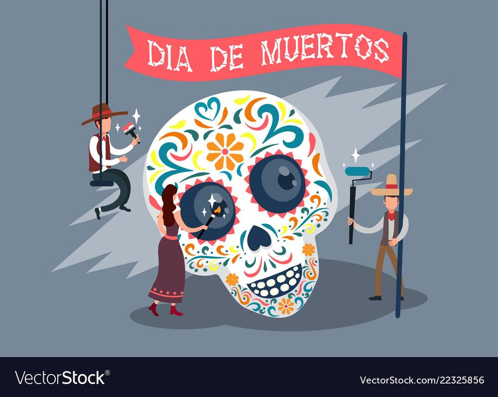 Dia de los muertos card with spanish text