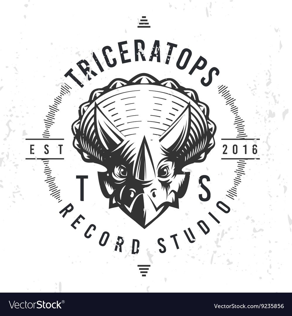 Dinosaur record studio logo template Triceratops