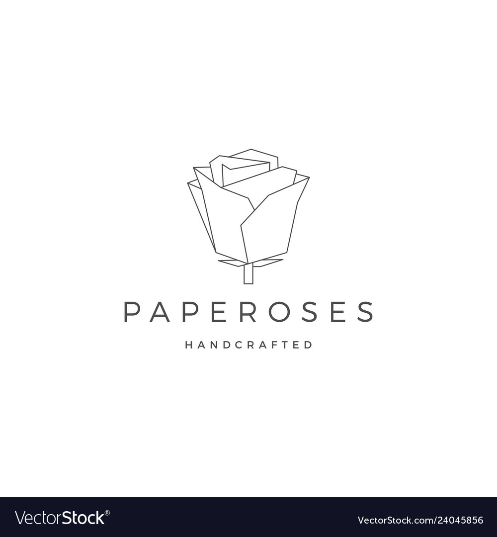 Geometric paper flower rose logo icon line