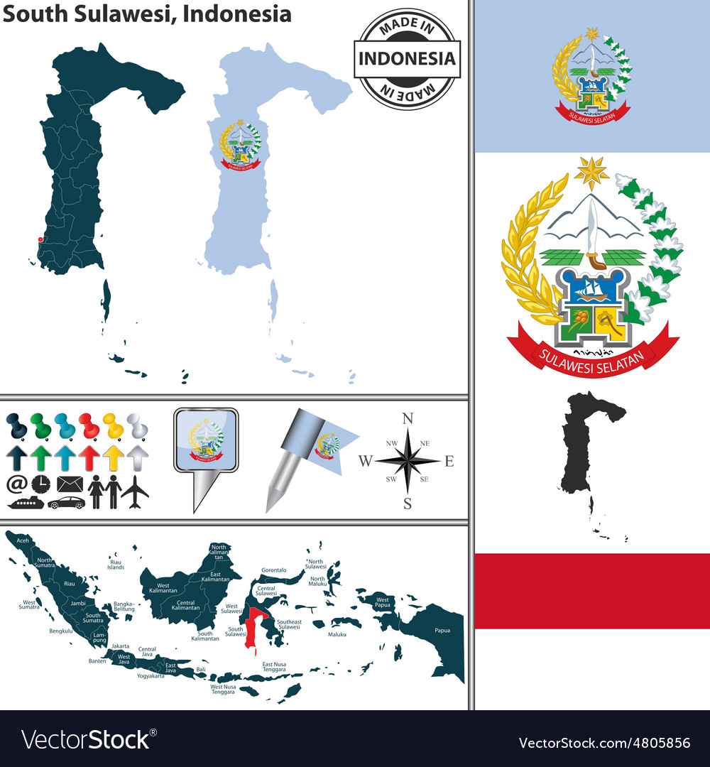 Map of South Sulawesi vector image