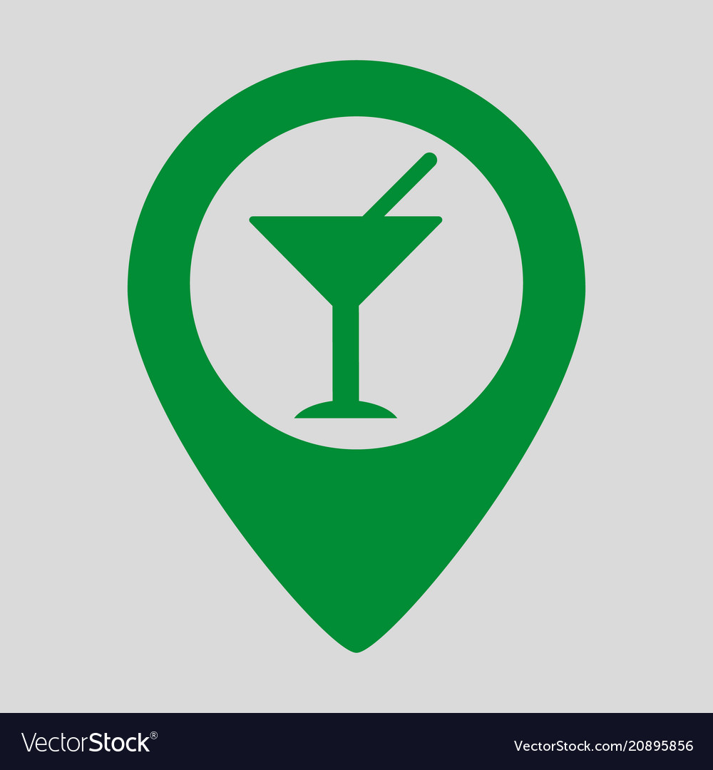 Map pointer with cocktail icon on grey background