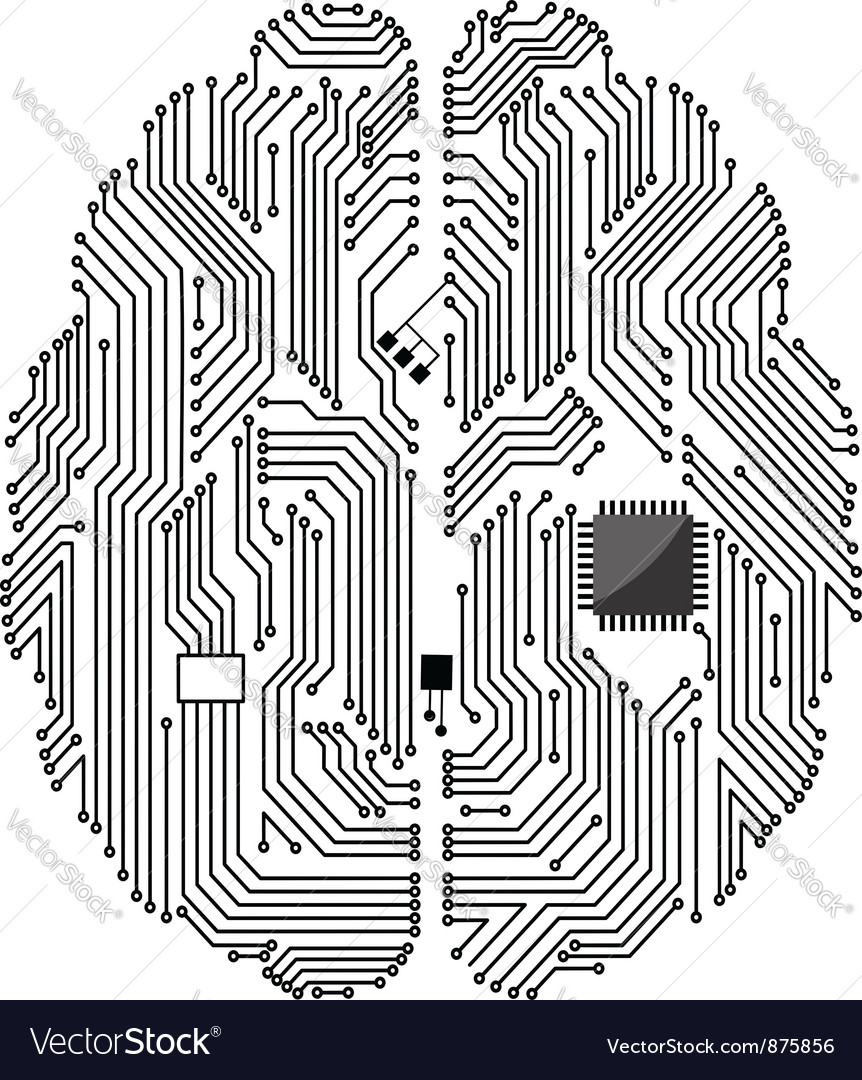 Motherboard brain vector image