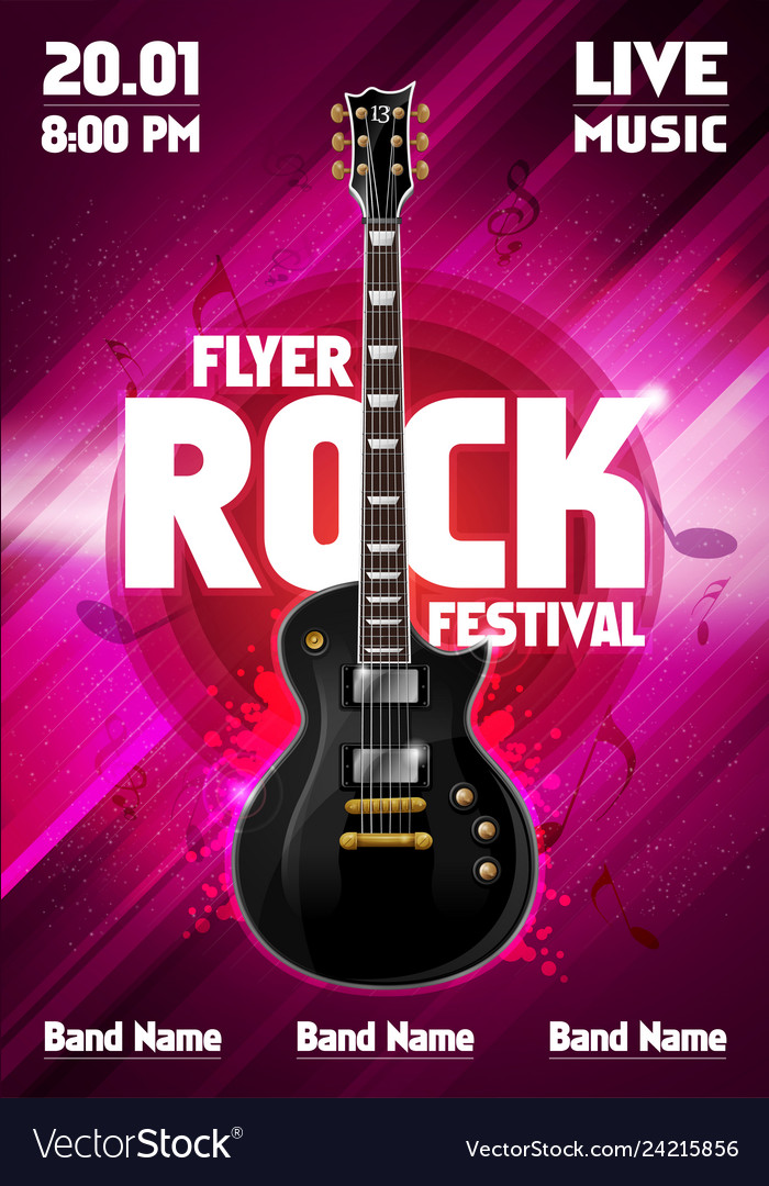 Rock festival poster with guitar