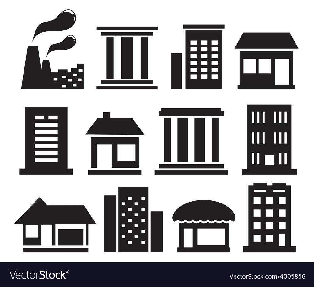 Set urban building icons