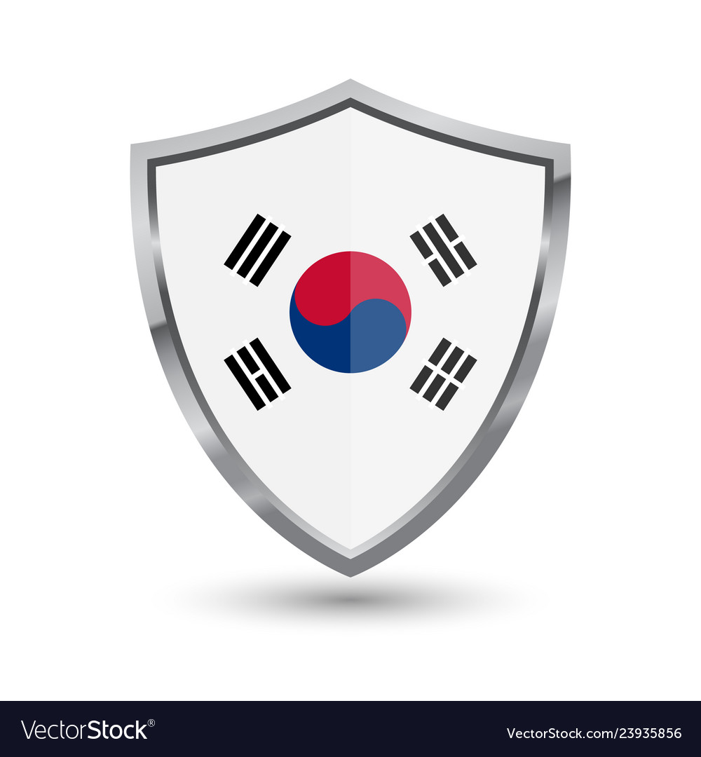 Shield with flag of south korea isolated