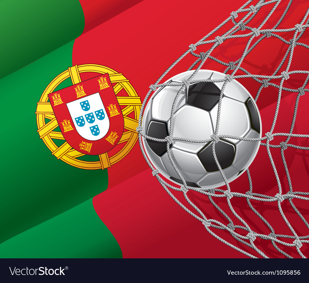 Soccer goal and Portugal flag
