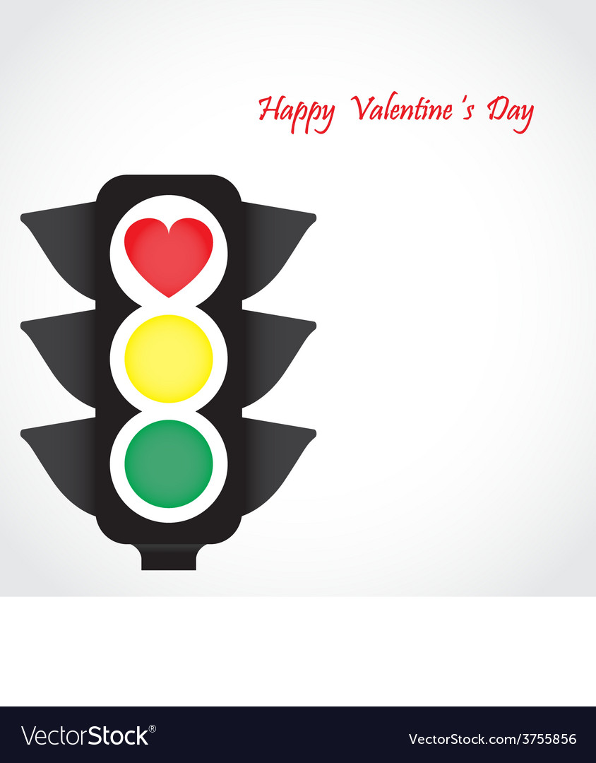 Traffic light icon with red heart sign vector image