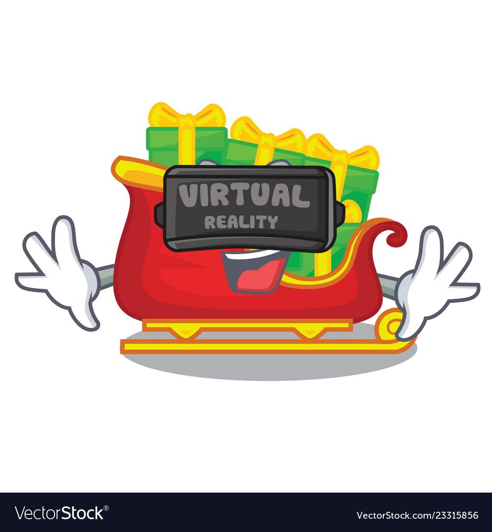 Virtual reality santa sleigh with christmas