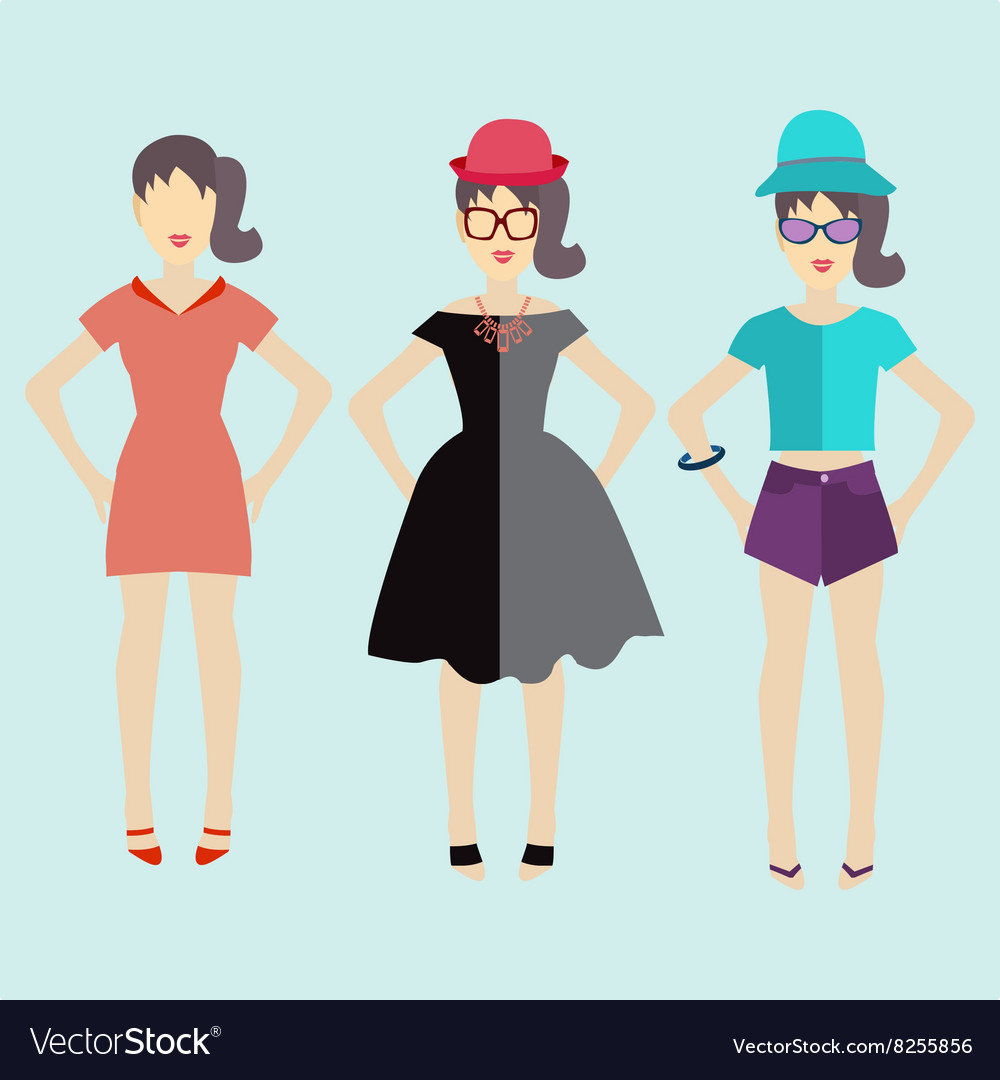 Woman modern clothing flat vector image