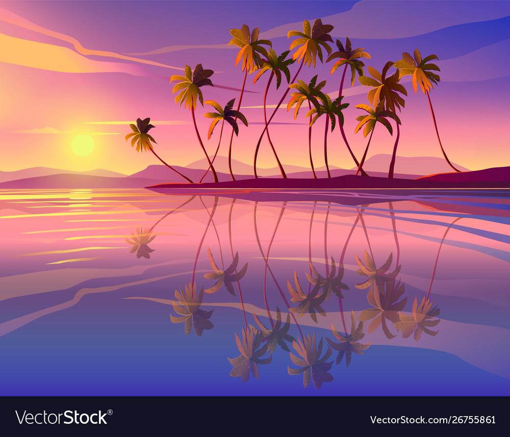 Beautiful seaside sunset decline ocean palm