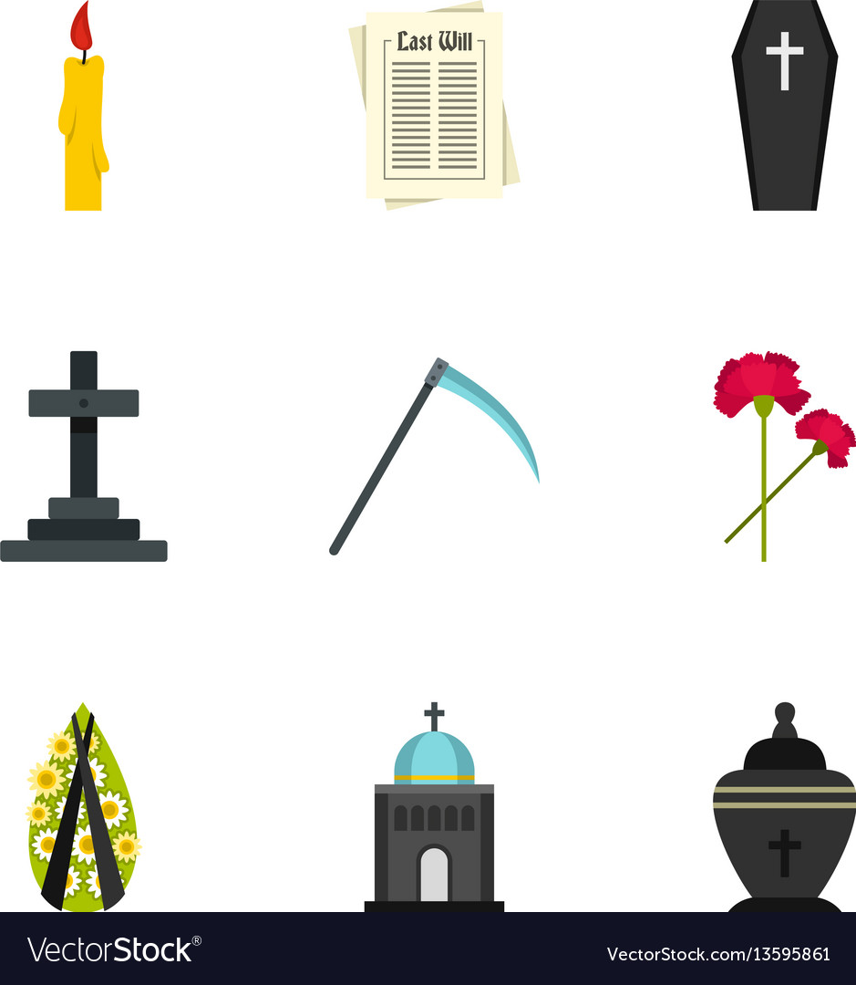 Burial icons set flat style